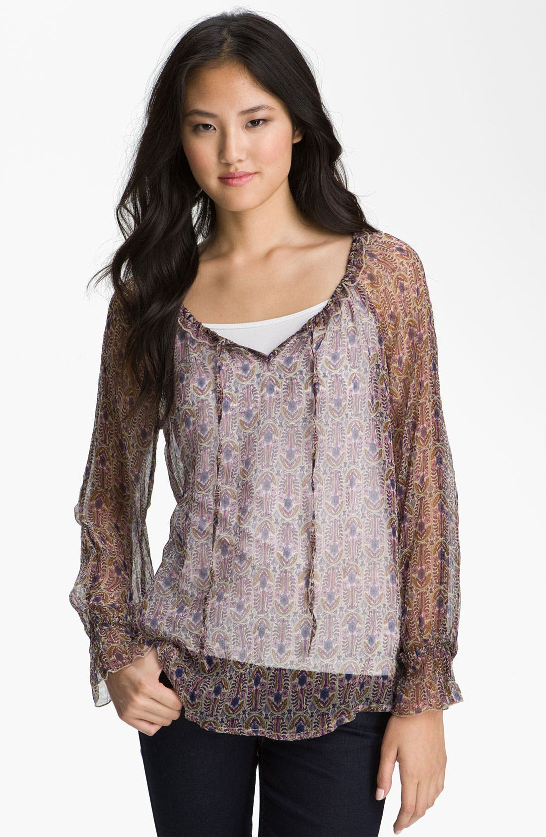 Alternate Image 1 Selected - Lucky Brand 'Stevie - Vintage Bouquet' Sheer Top
