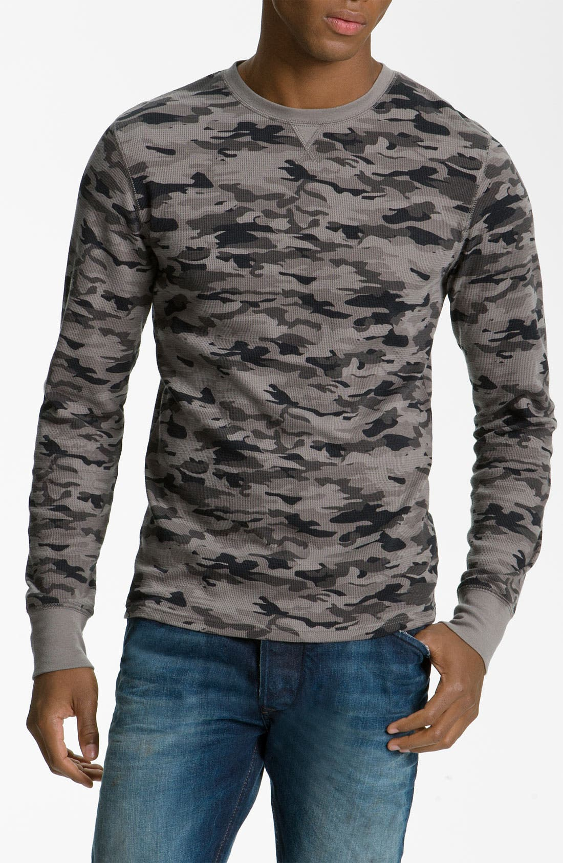 The Rail by Public Opinion Camo Thermal Shirt,                             Main thumbnail 1, color,                             Tonal Black Camo