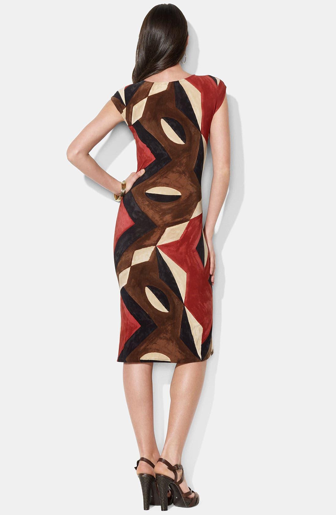 Alternate Image 2  - Lauren Ralph Lauren Faux Wrap Print Jersey Dress