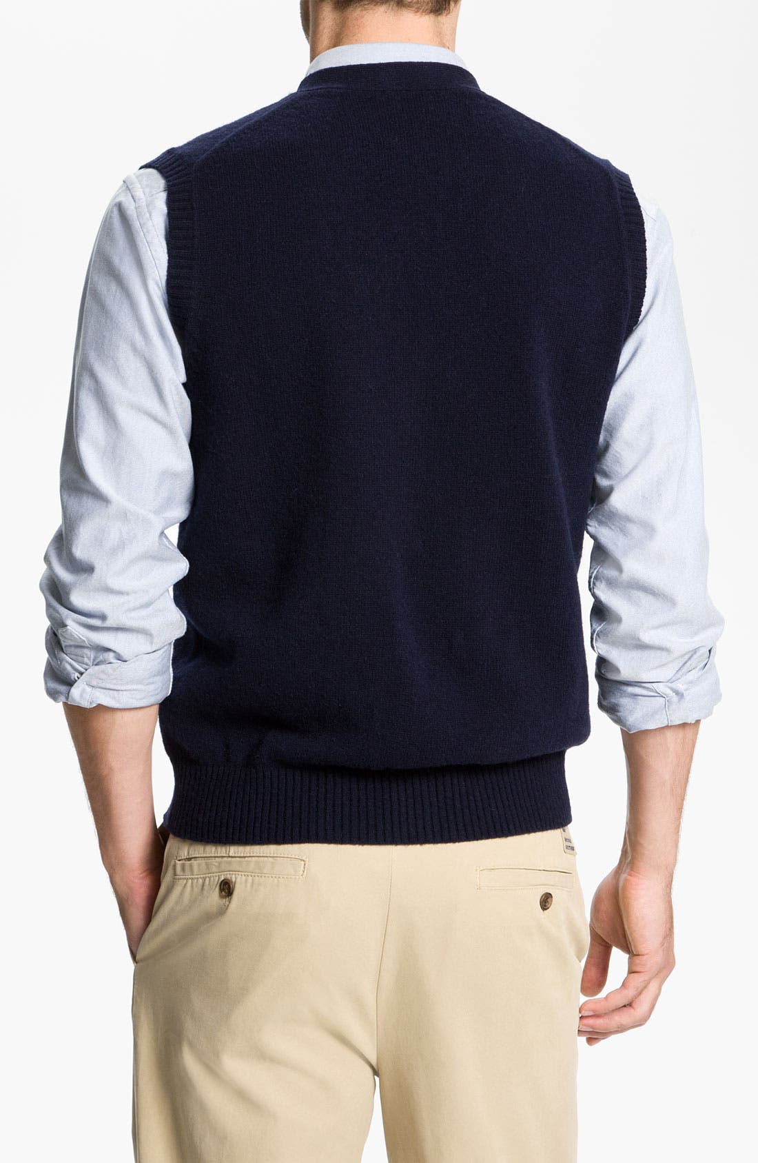 Alternate Image 2  - Brooks Brothers Lambswool Cardigan Vest