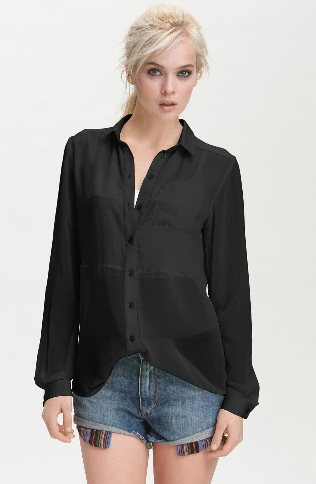 Alternate Image 1 Selected - Free People 'Best of Both Worlds' Sheer Panel Shirt