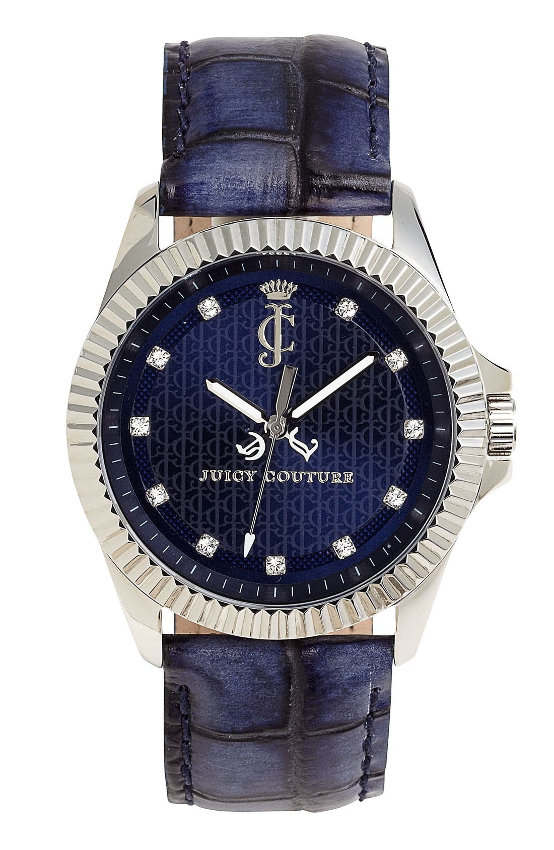 Alternate Image 1 Selected - Juicy Couture 'Stella' Round Leather Strap Watch