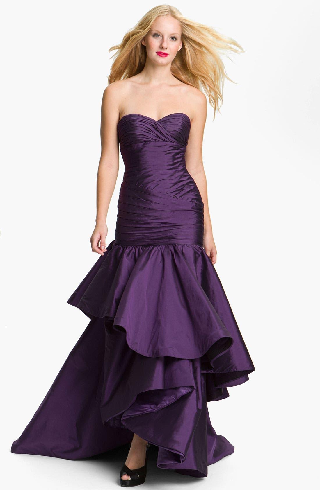 Main Image - ML Monique Lhuillier Strapless High/Low Taffeta Mermaid Gown