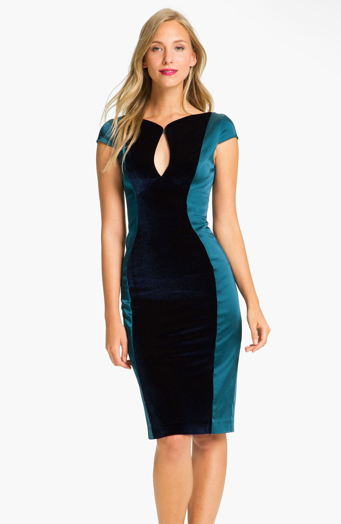Alternate Image 1 Selected - Black Halo 'Lorraine' Velvet & Satin Sheath Dress