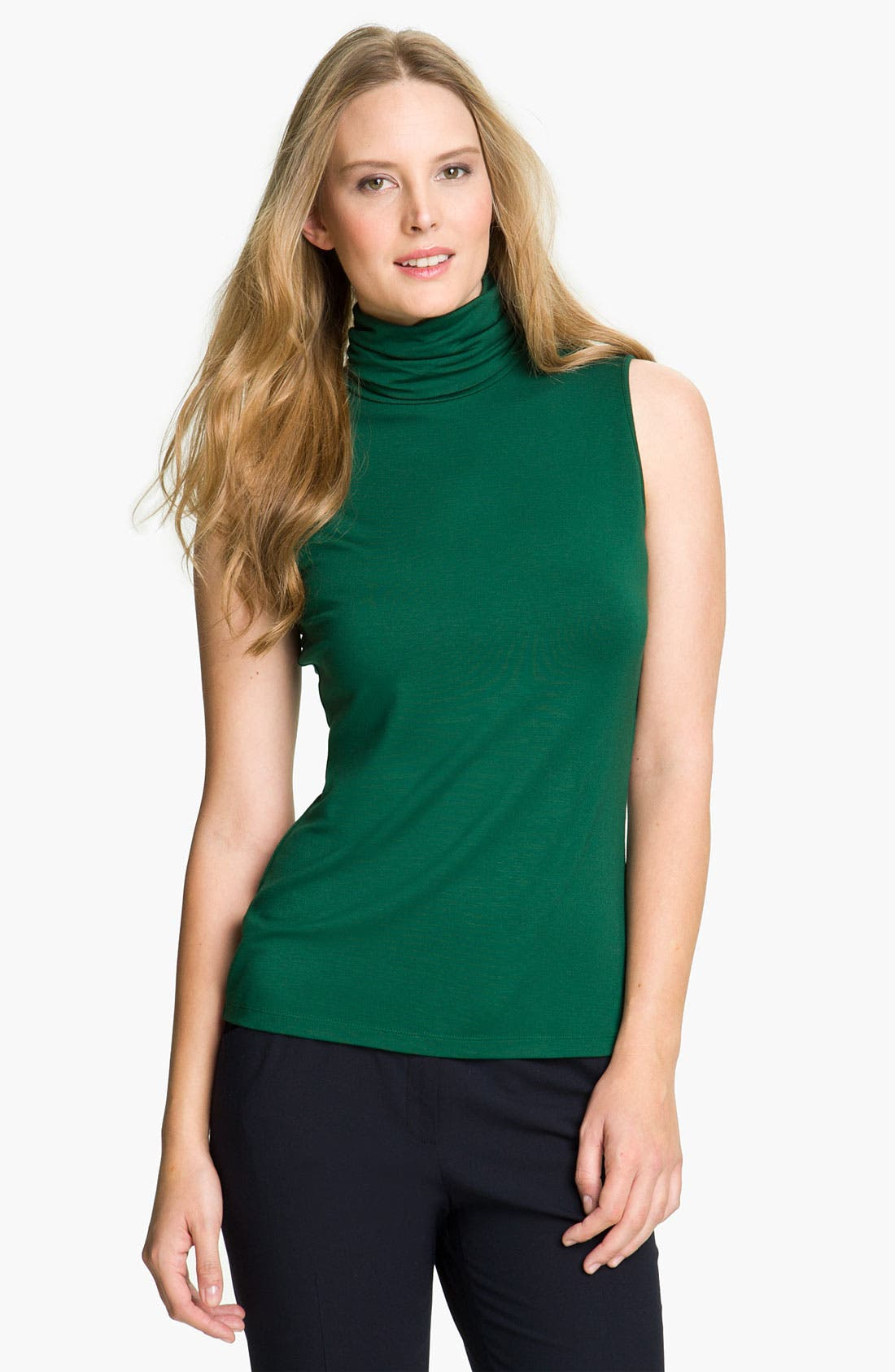Main Image - Lafayette 148 New York 'Noveau Jersey' Sleeveless Turtleneck