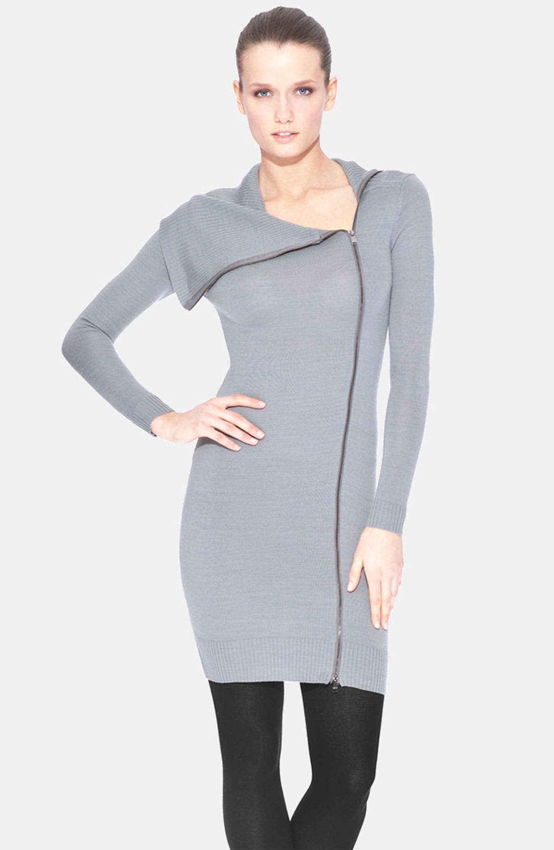 Main Image - Marc New York by Andrew Marc Front Zip Asymmetrical Sweater Dress