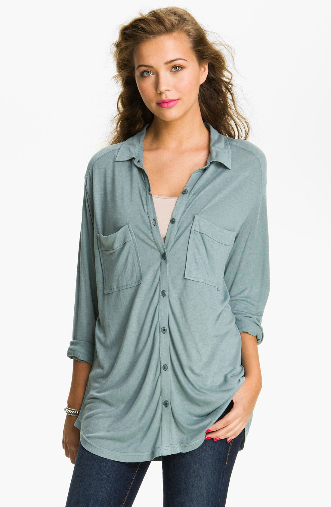 Alternate Image 1 Selected - Frenchi® Two Pocket Top (Juniors)