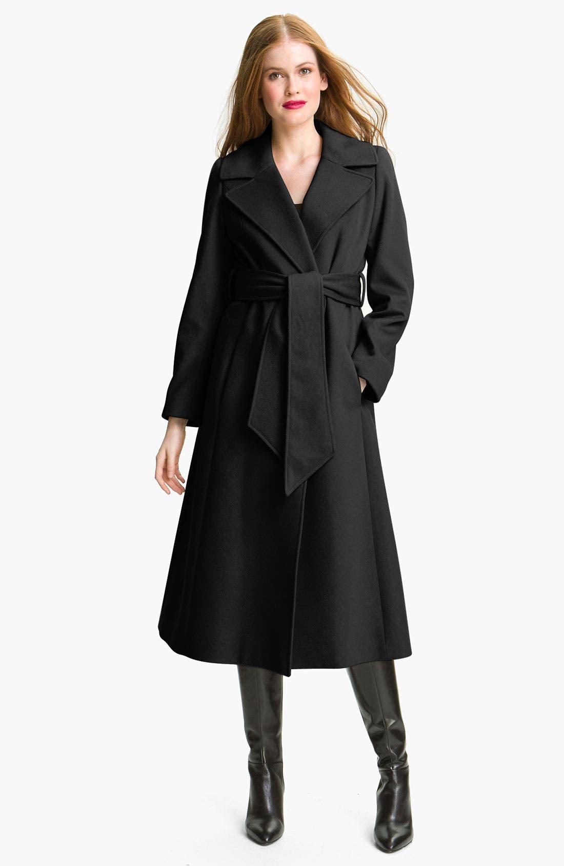 Couture Long Wrap Coat,                         Main,                         color, Black
