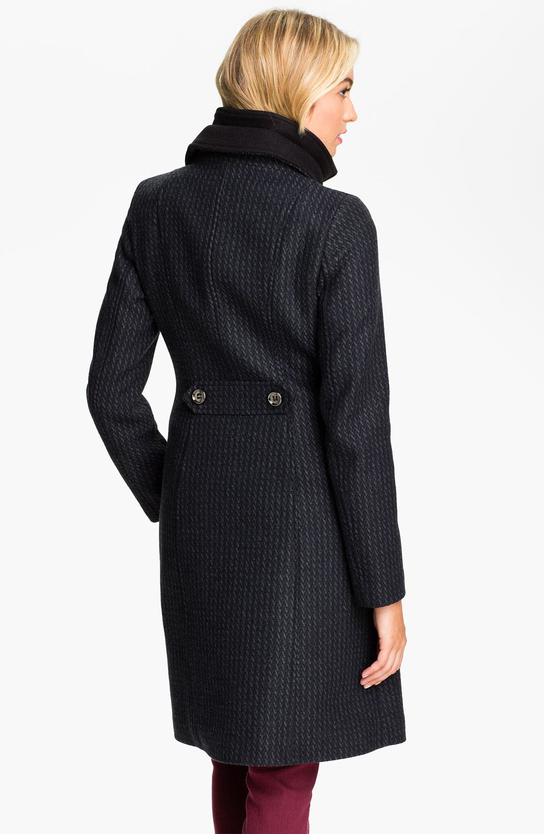 Alternate Image 2  - Soïa & Kyo Knit Collar Tweed Walking Coat