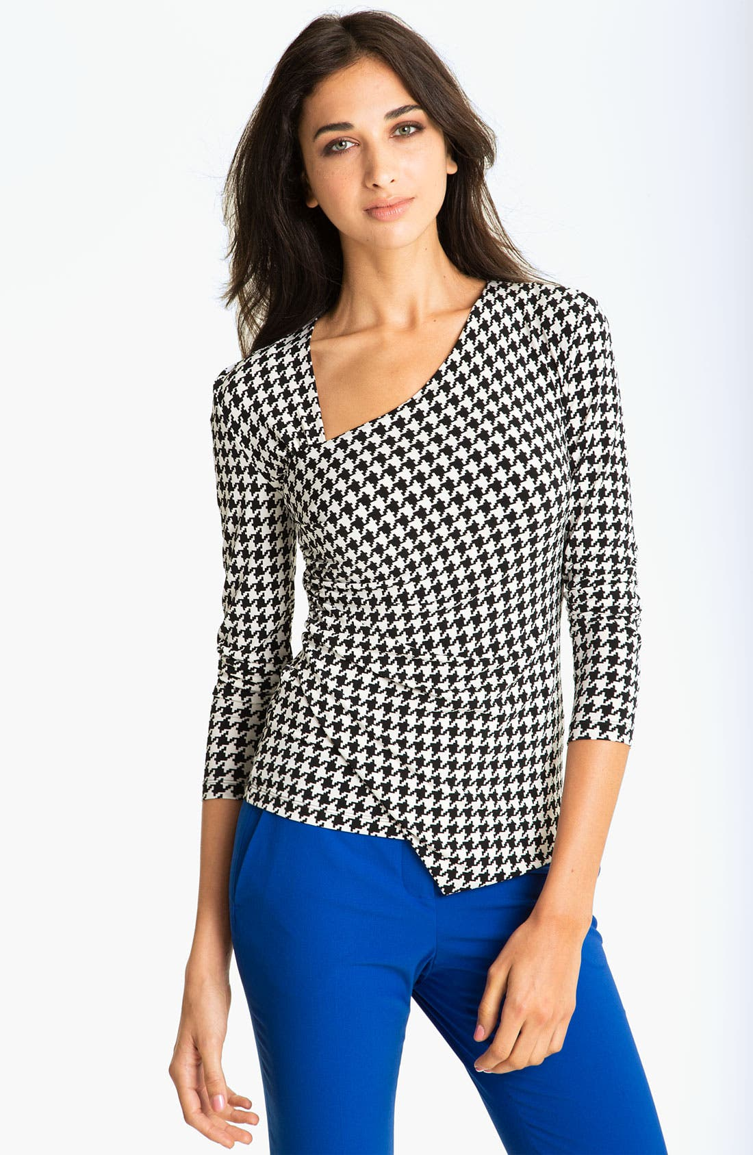 Alternate Image 1 Selected - Vince Camuto Faux Wrap Houndstooth Top
