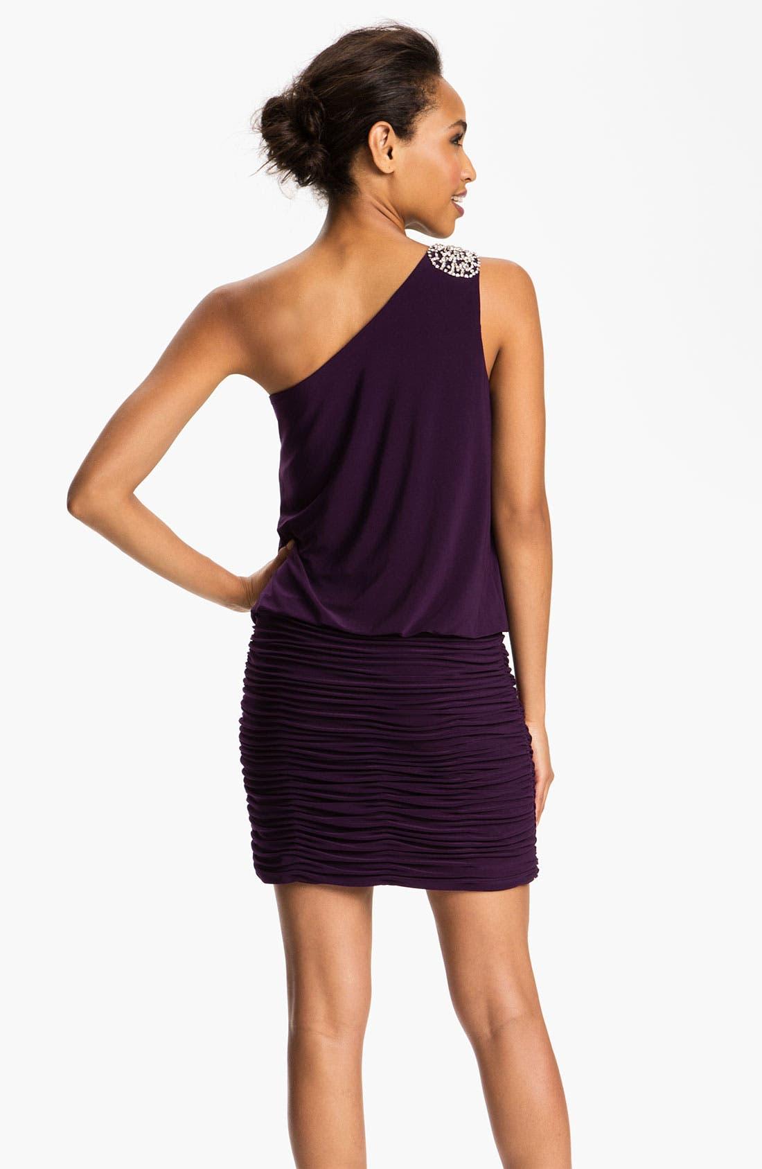 Alternate Image 2  - JS Boutique Embellished One Shoulder Blouson Dress
