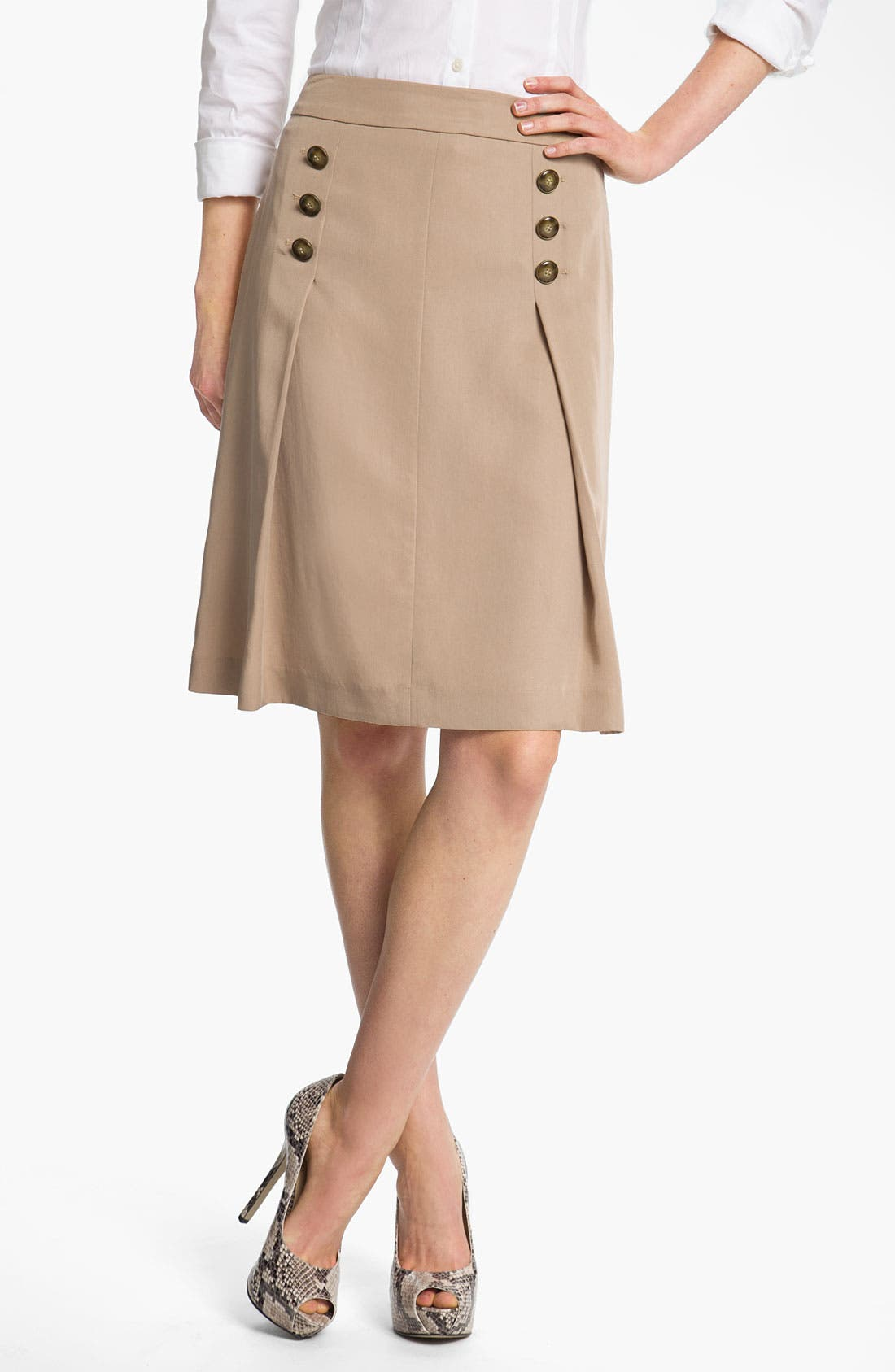 Alternate Image 1 Selected - Halogen® Button Trim A-Line Skirt