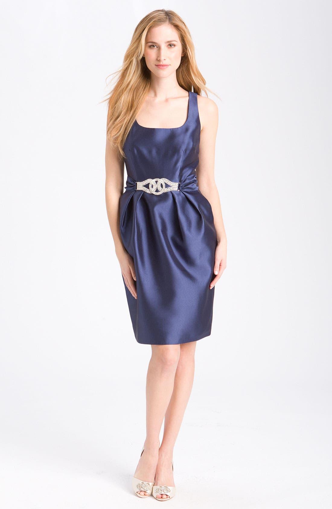 Main Image - Alex Evenings Embellished Satin Sheath Dress (Petite)
