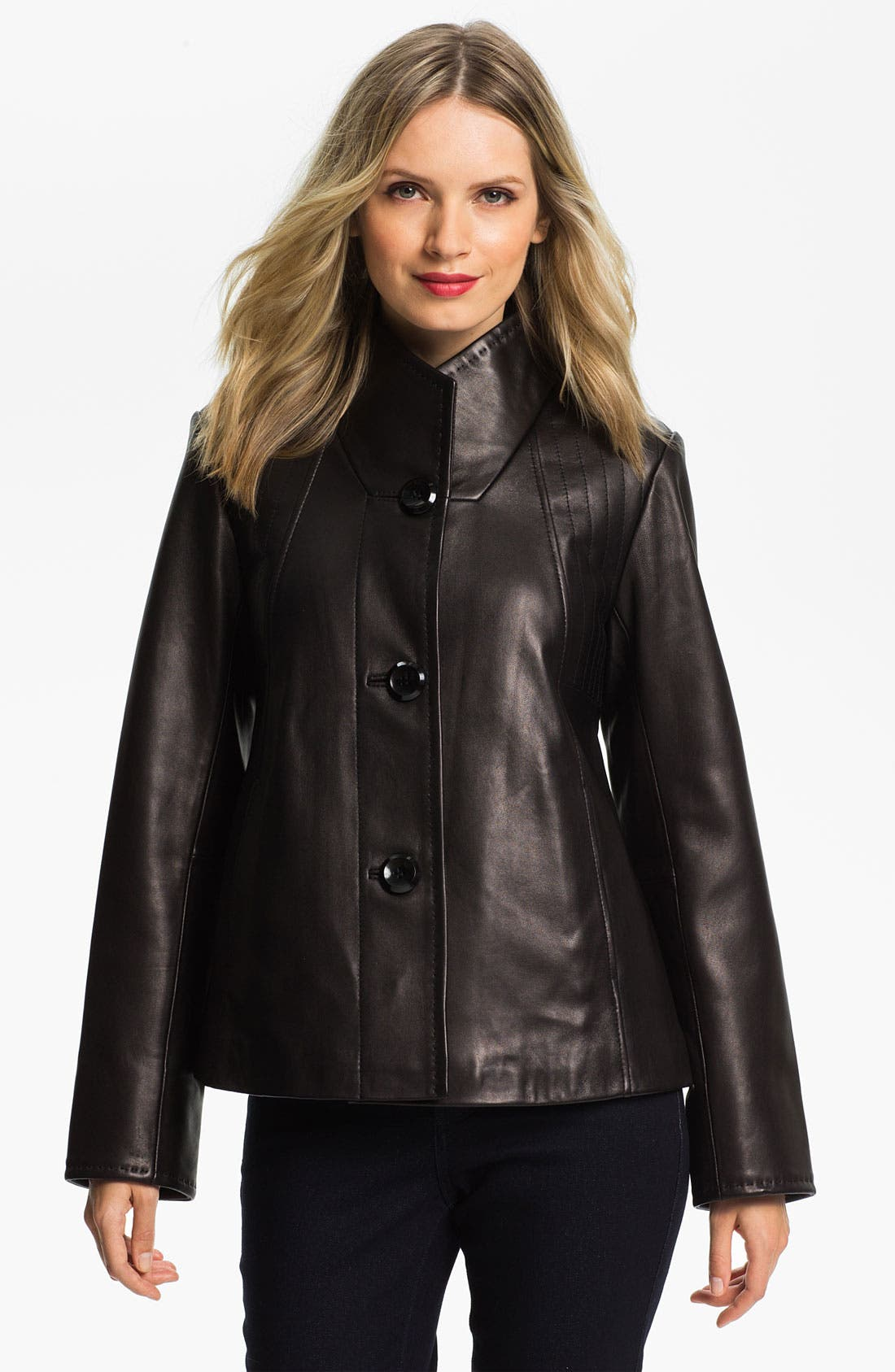 Main Image - Ellen Tracy Button Up Leather Jacket (Nordstrom Exclusive)