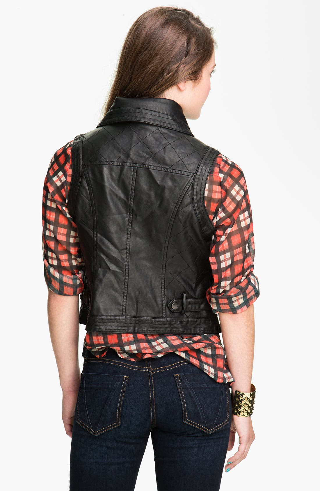 Alternate Image 2  - Coffee Shop Oversize Collar Faux Leather Vest (Juniors)