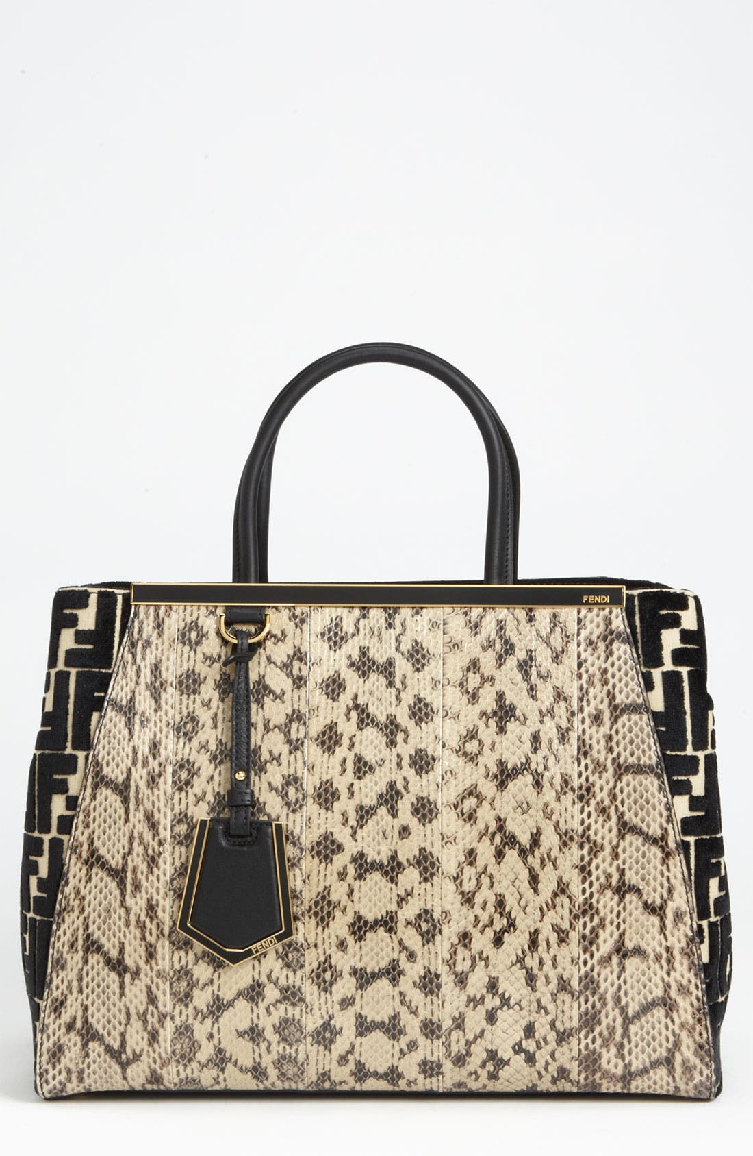 Main Image - Fendi '2Jours' Genuine Snakeskin Shopper