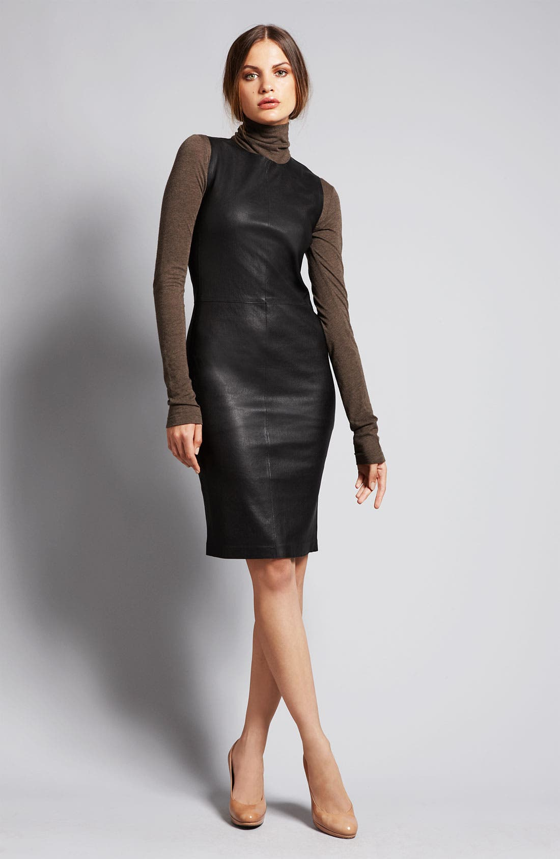Alternate Image 5  - Vince Stretch Leather Sheath Dress