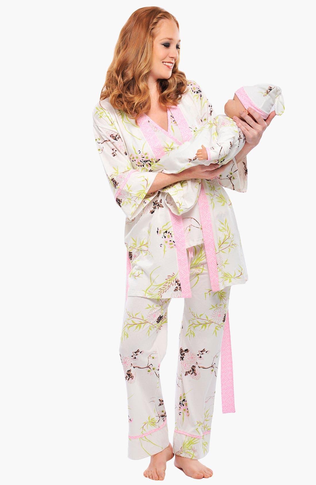 Alternate Image 2  - Olian 'Anne' 4-Piece Maternity Sleepwear Gift Set