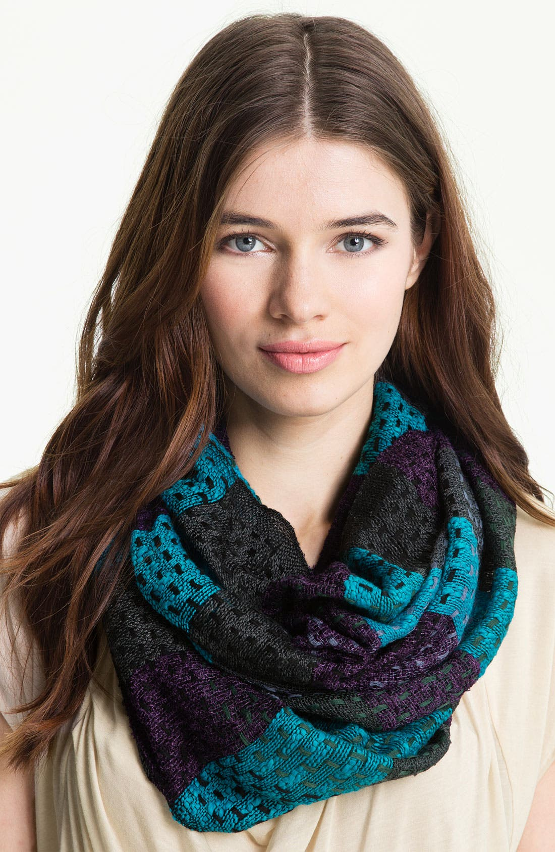 Main Image - Brazen Checkered Stitched Yarn Infinity Scarf