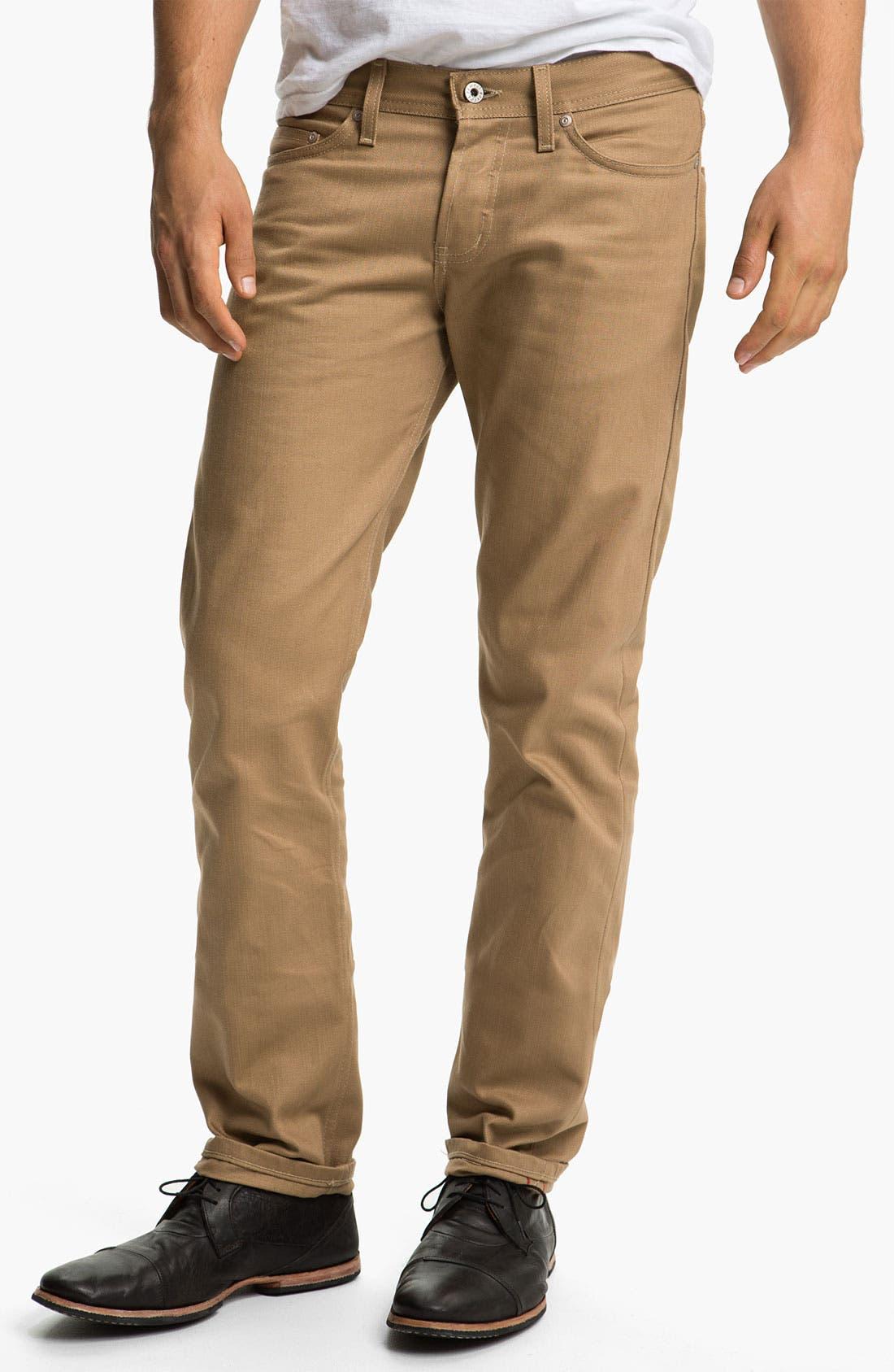 Alternate Image 1 Selected - Naked & Famous Denim 'Weird Guy' Slim Straight Leg Selvedge Jeans (Beige)