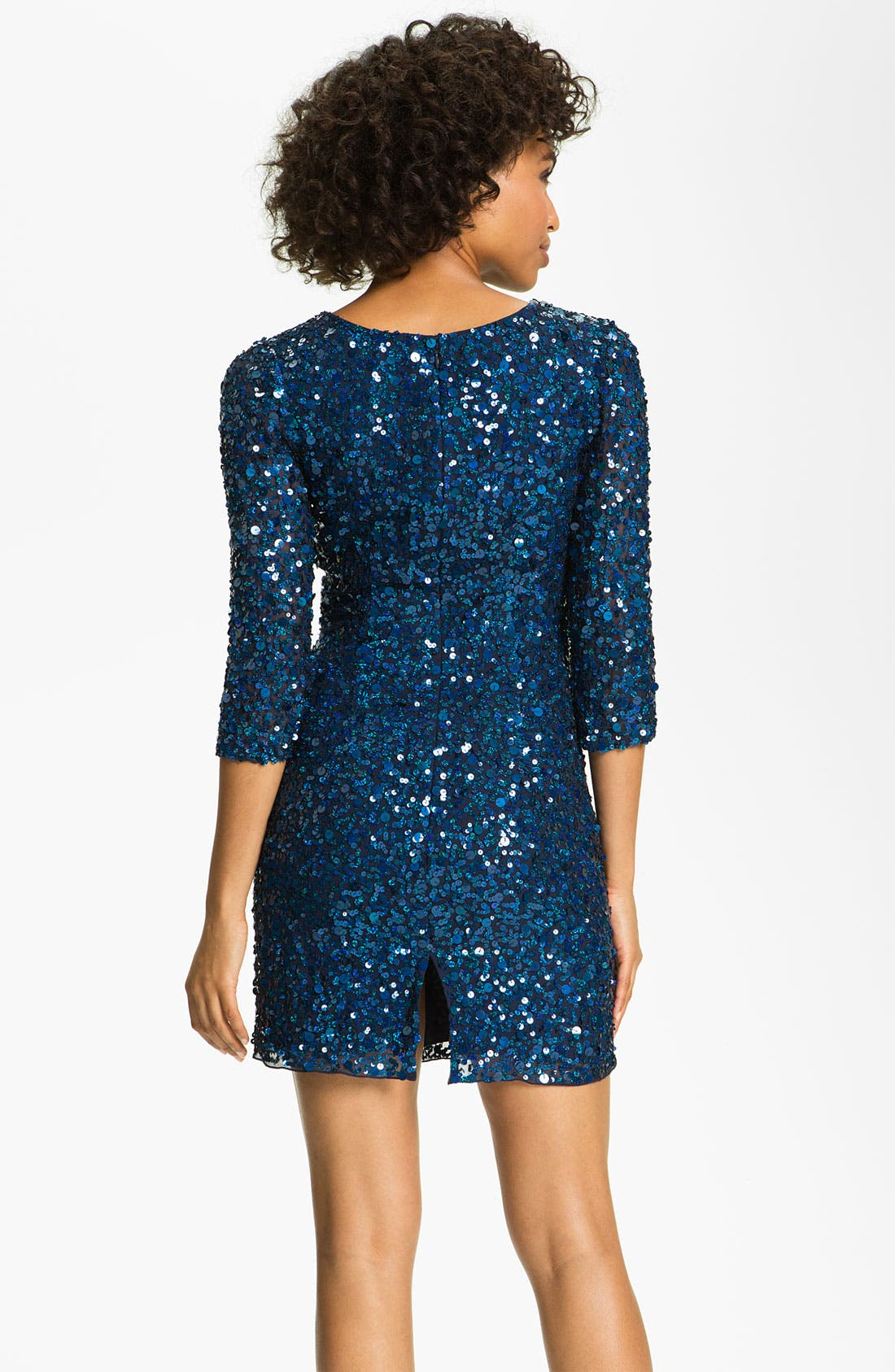 Alternate Image 2  - Sean Collection V-Neck Sequined Silk Dress