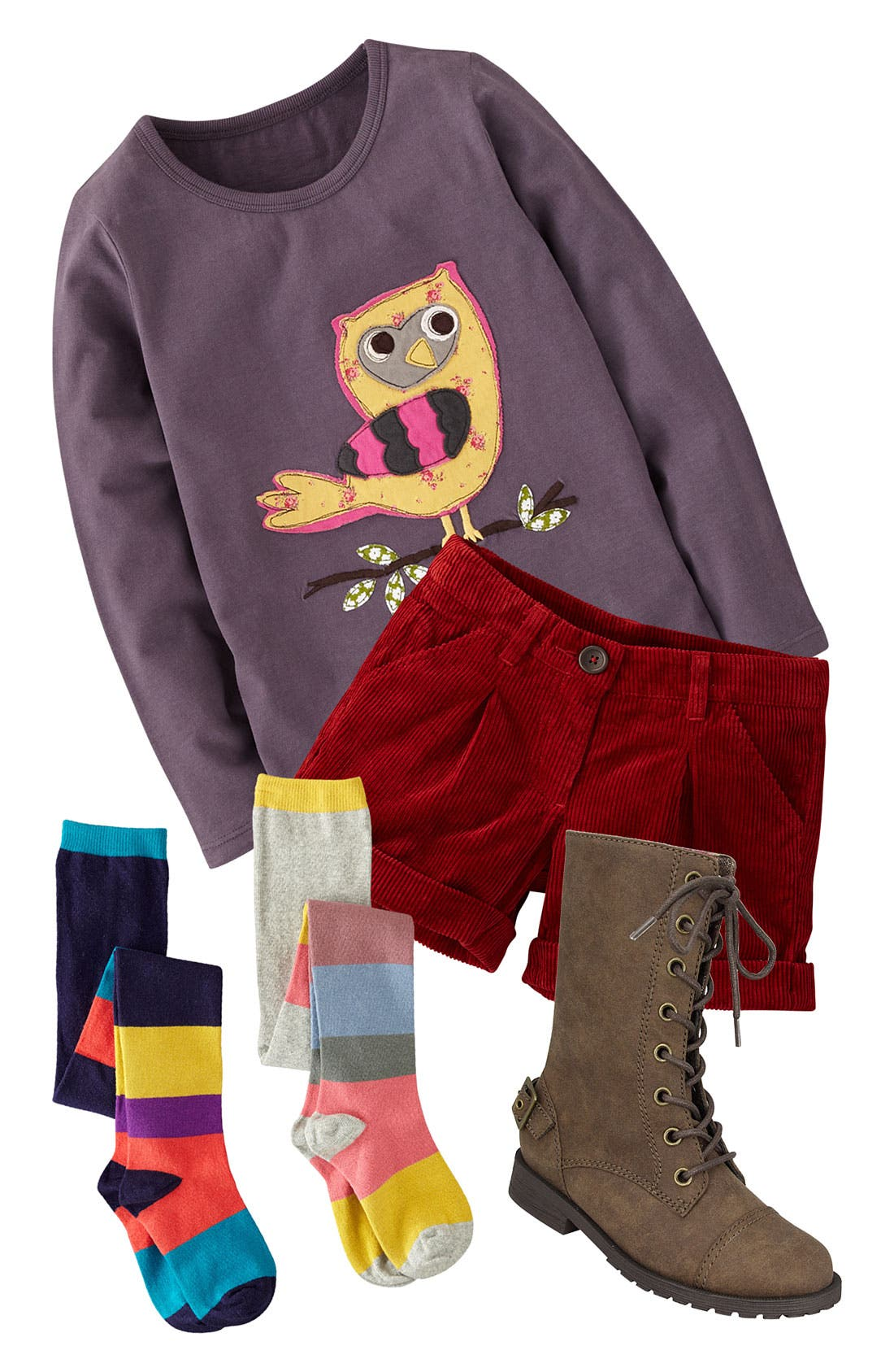 Main Image - Mini Boden Tee, Shorts & Tights (Little Girls & Big Girls)