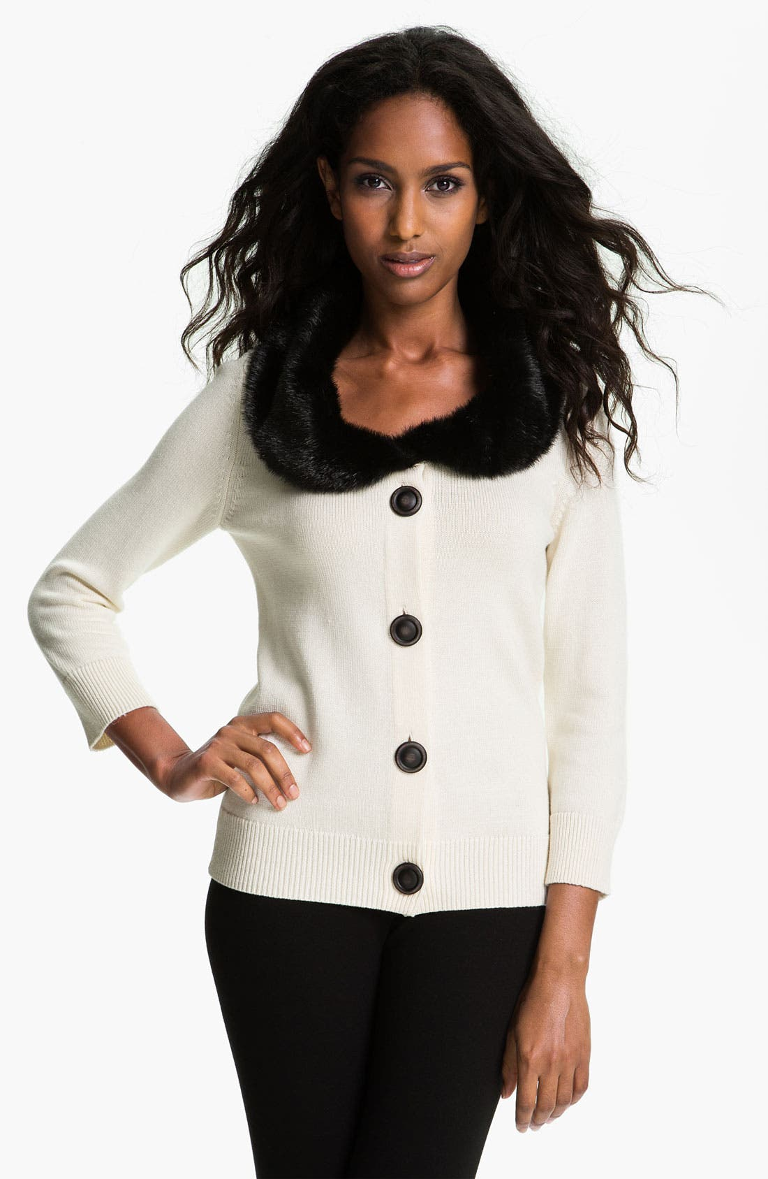 Main Image - Nic + Zoe Faux Fur Collar Cardigan