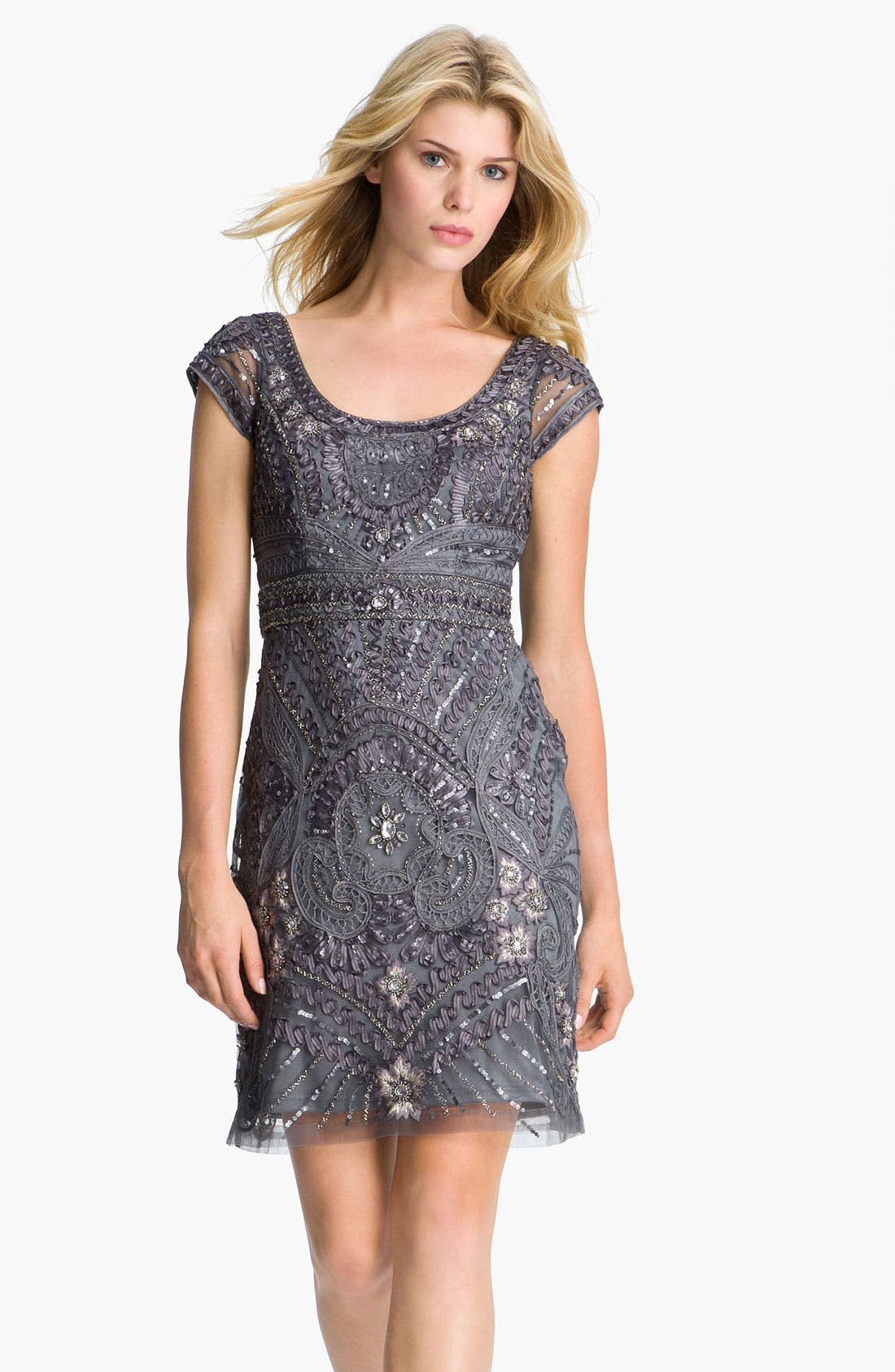 Main Image - Sue Wong Cap Sleeve Embroidered Tulle Sheath Dress