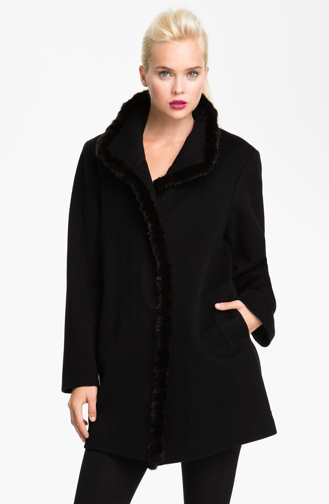 Main Image - Fleurette Genuine Mink Fur Trim Walking Coat (Petite)