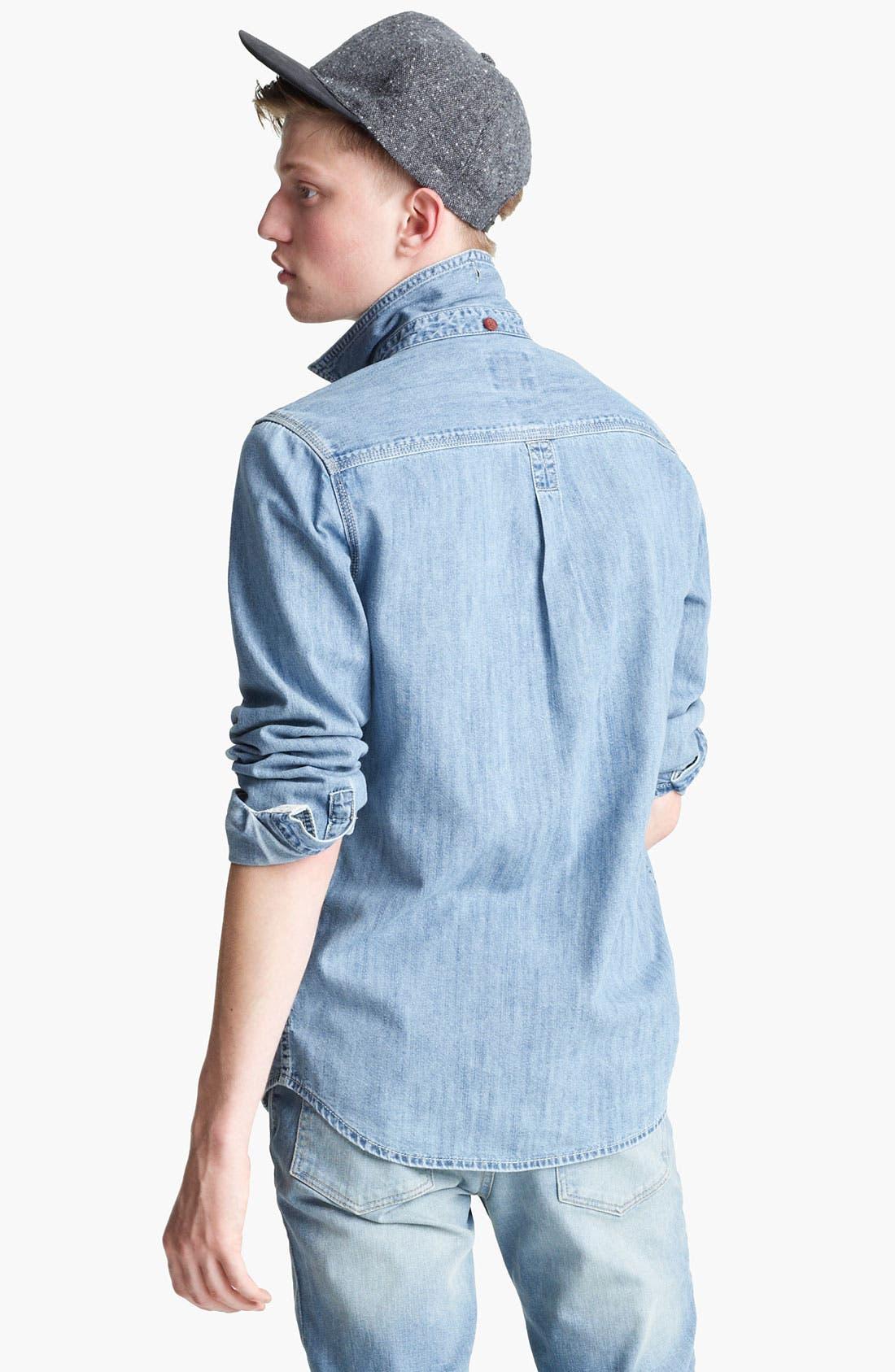 Alternate Image 2  - Topman Embroidered Denim Shirt