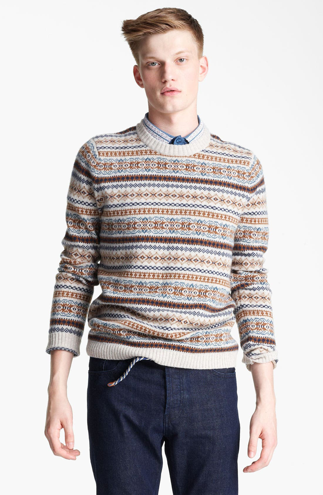 Alternate Image 1 Selected - Topman Fair Isle Crewneck Sweater