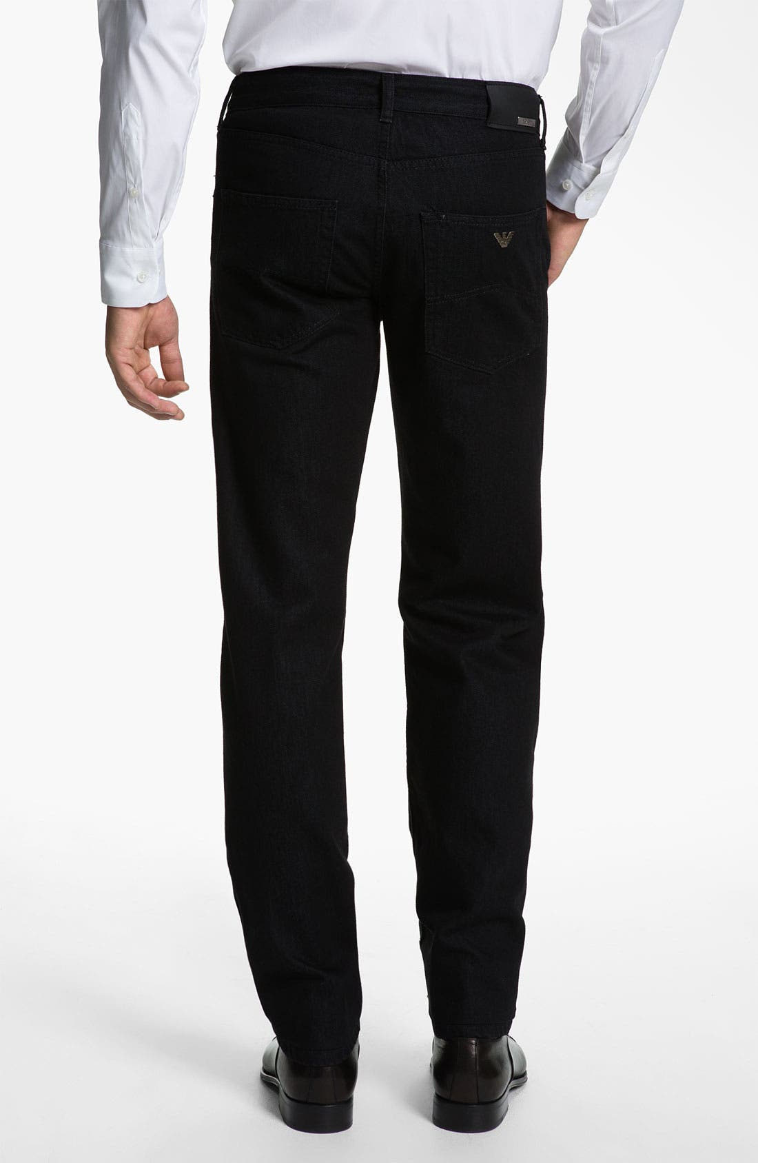 Alternate Image 2  - Armani Collezioni Straight Leg Jeans (Black Wash)