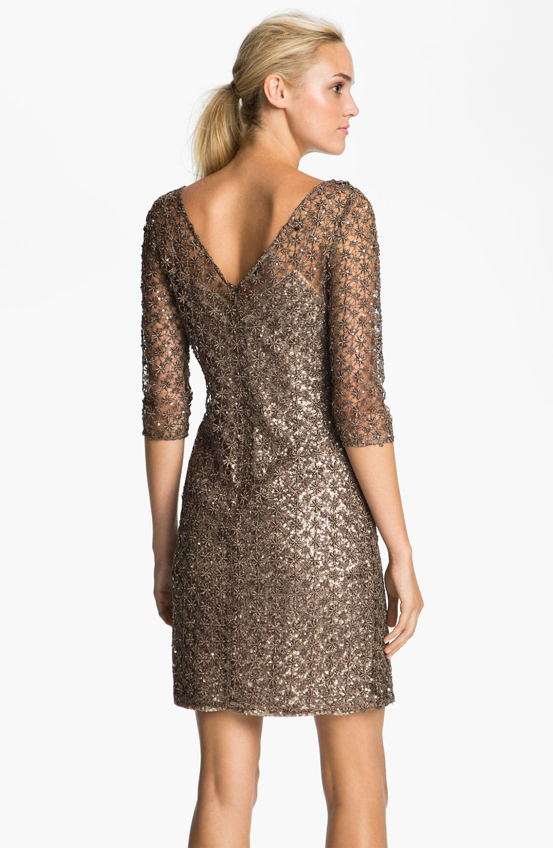 Alternate Image 2  - Kay Unger Double V-Neck Metallic Overlay Dress