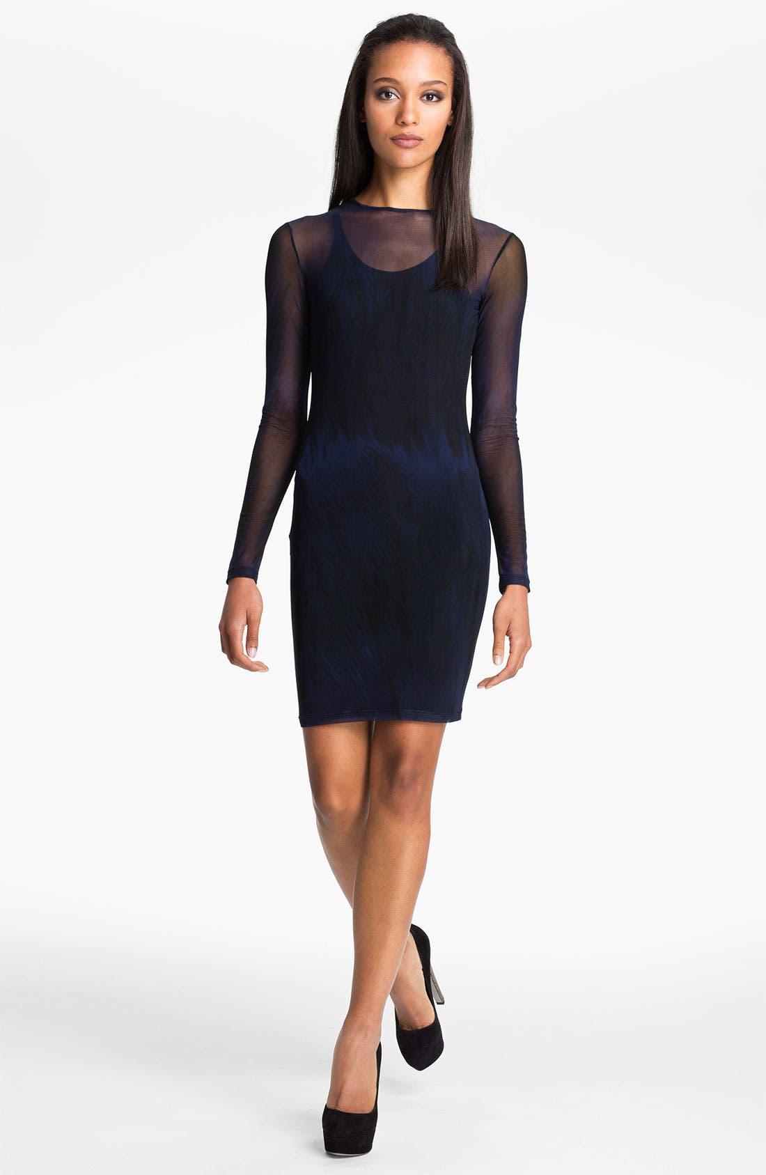 Main Image - Versus Stripe Sheer Mesh Dress
