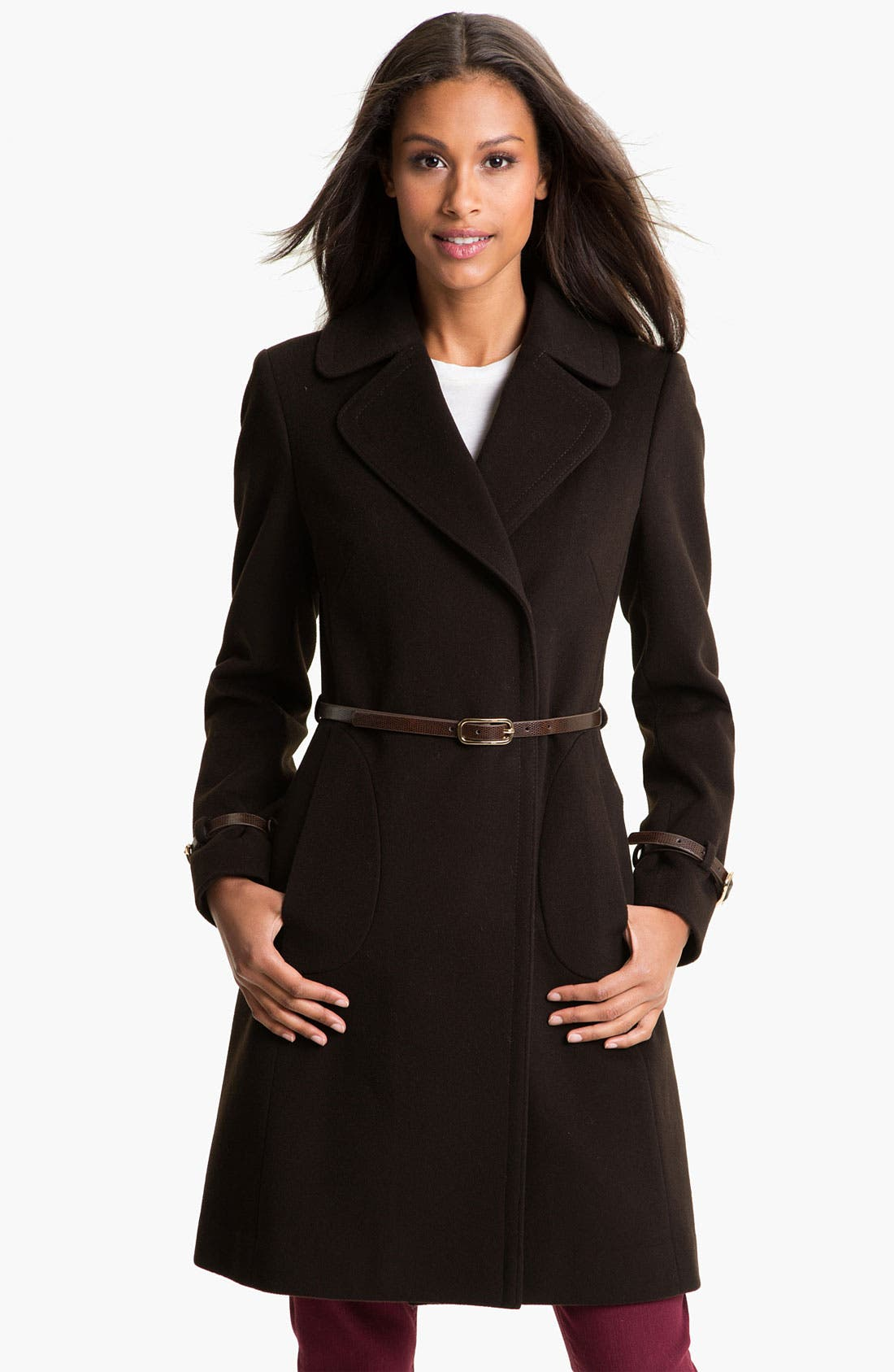 Alternate Image 1 Selected - Via Spiga 'Kate' Belted Notch Collar Coat