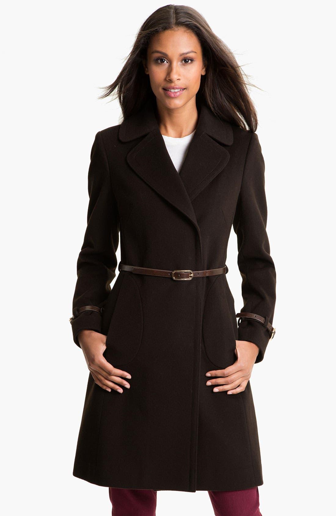 Main Image - Via Spiga 'Kate' Belted Notch Collar Coat