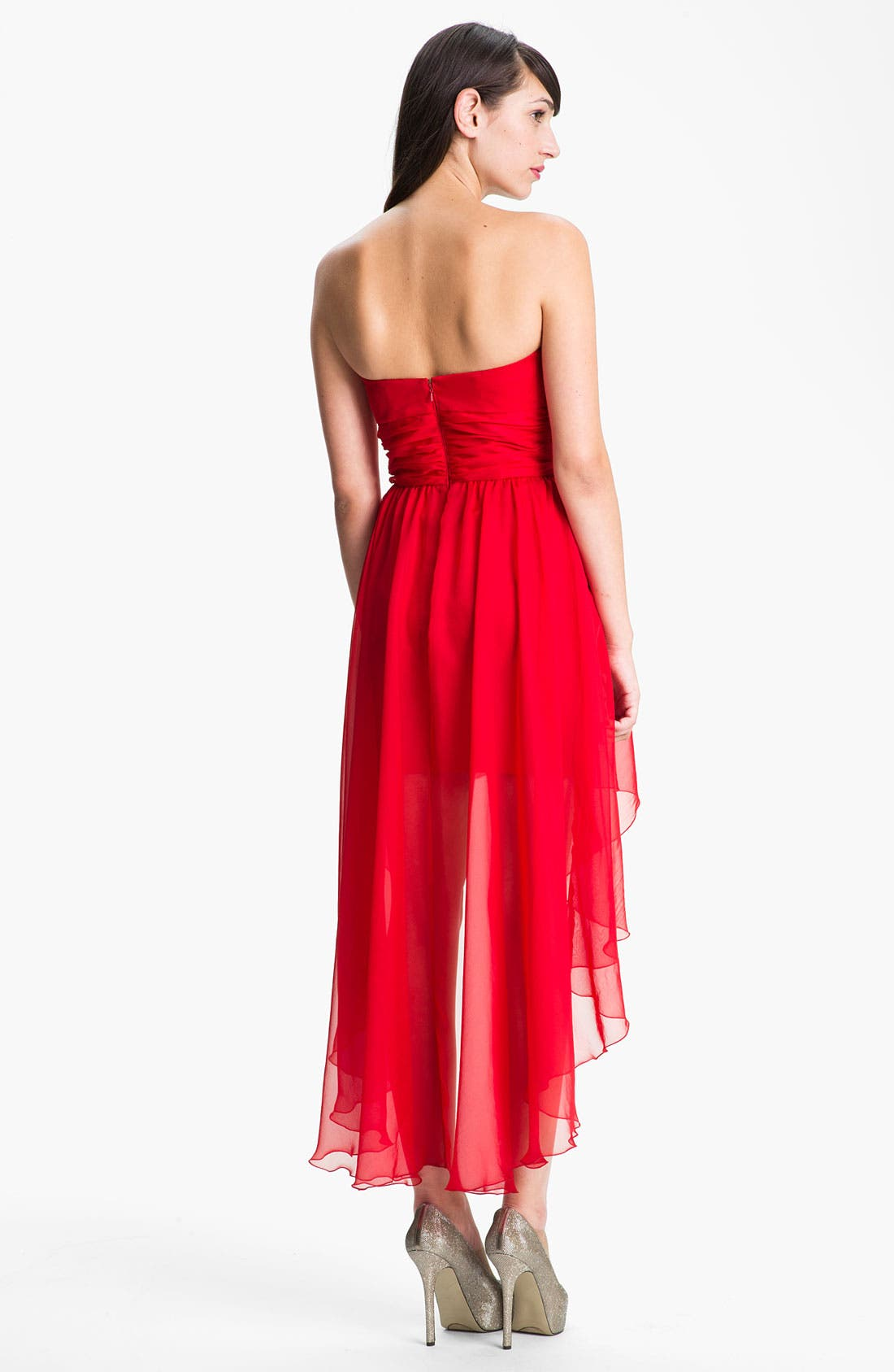 Alternate Image 2  - Jessica McClintock Sequin Bodice High/Low Chiffon Dress