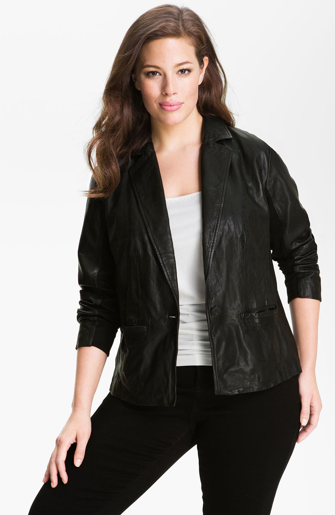 Alternate Image 1 Selected - MICHAEL Michael Kors Leather Blazer (Plus)
