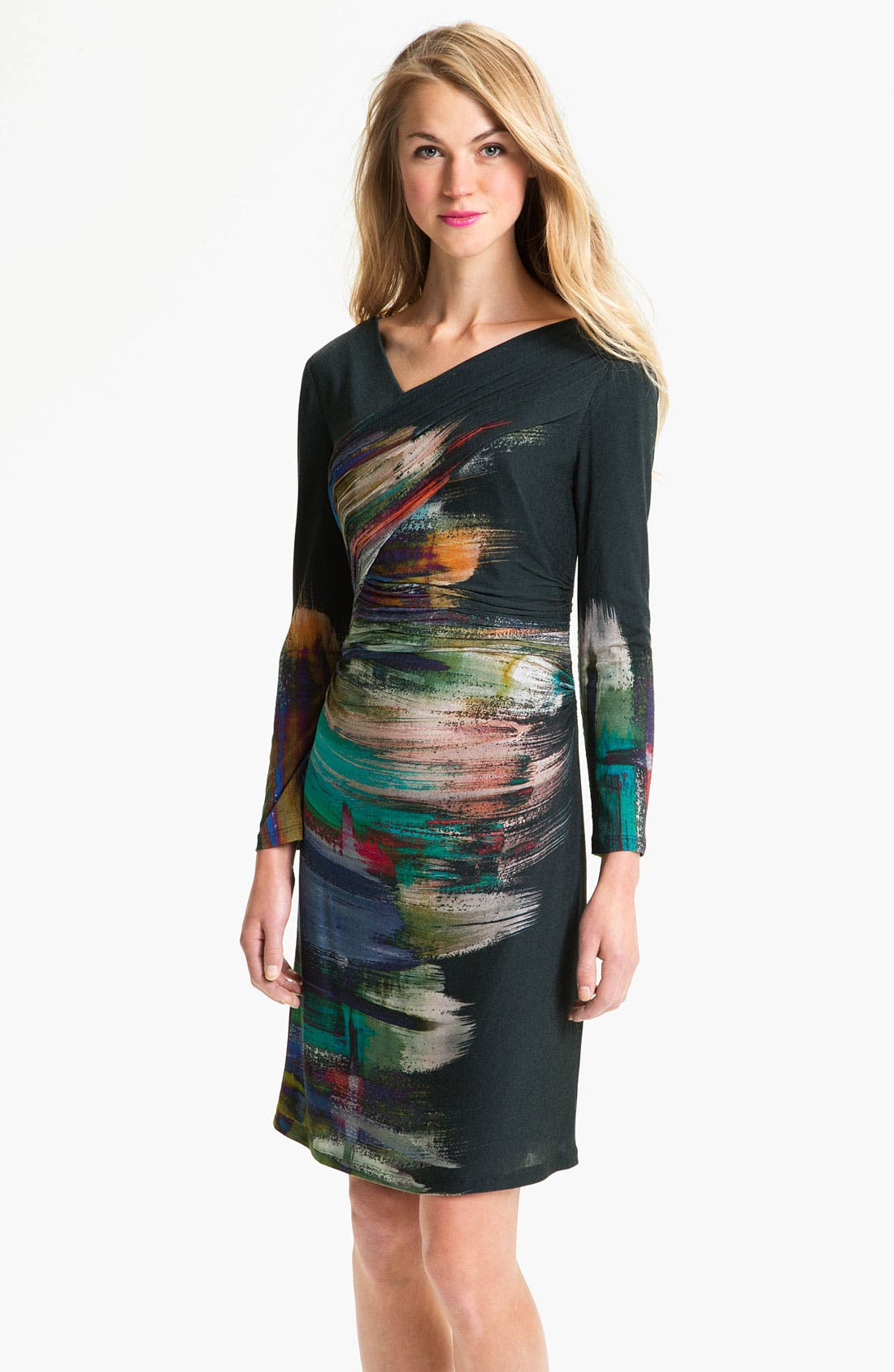 Main Image - Kay Unger V-Neck Paint Stain Jersey Dress
