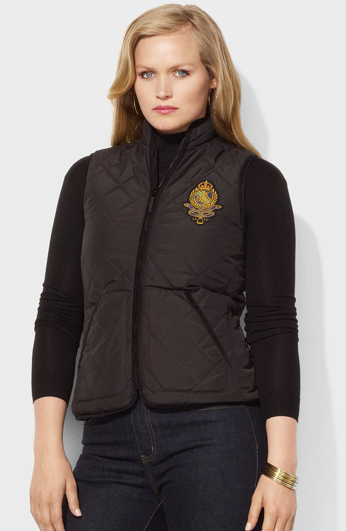 Main Image - Lauren Ralph Lauren Reversible Mock Neck Vest (Plus)