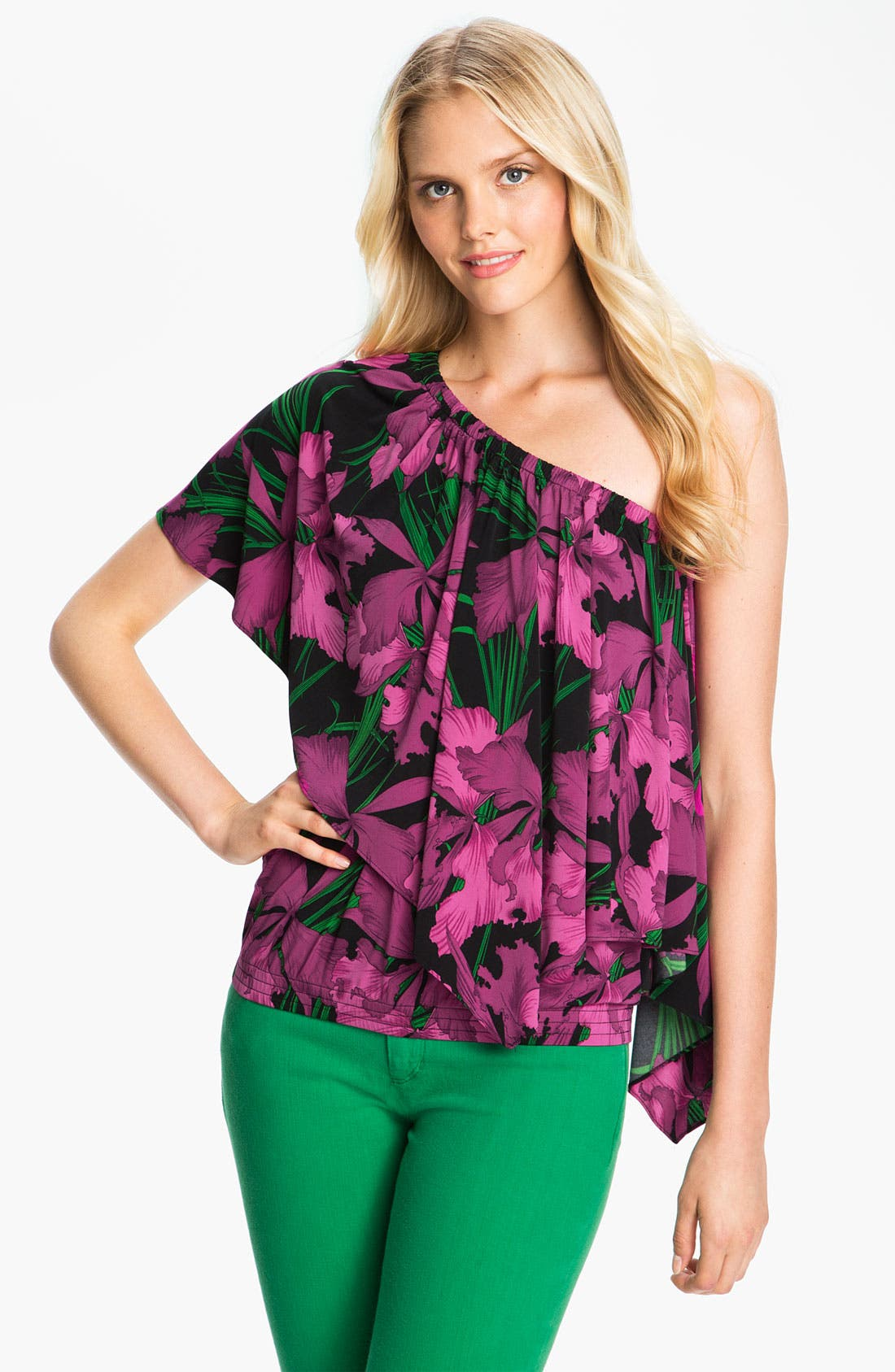 Alternate Image 1 Selected - MICHAEL Michael Kors One Shoulder Cascade Blouse