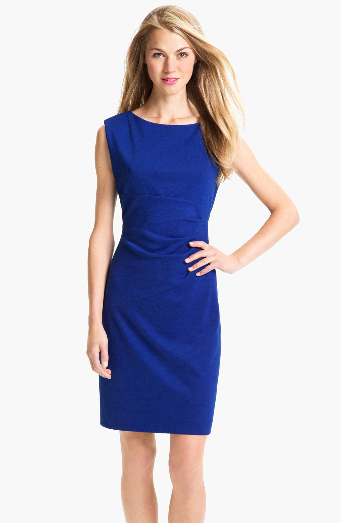 Alternate Image 1 Selected - Donna Morgan Ruched Waist Ponte Sheath Dress
