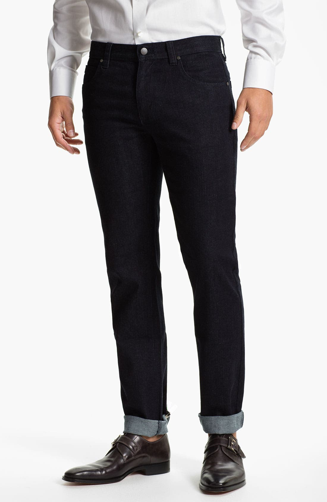 Main Image - Michael Kors Straight Leg Jeans (Dark Rinse)