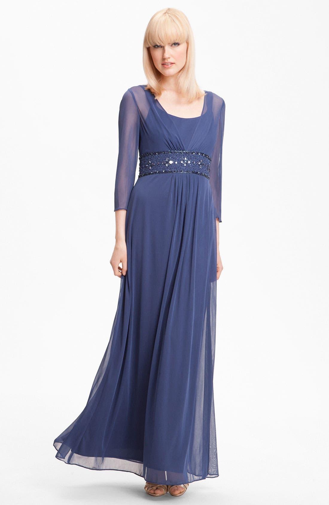 Alternate Image 1 Selected - Alex Evenings Long Sleeve Bead Waist Mesh Gown (Petite)