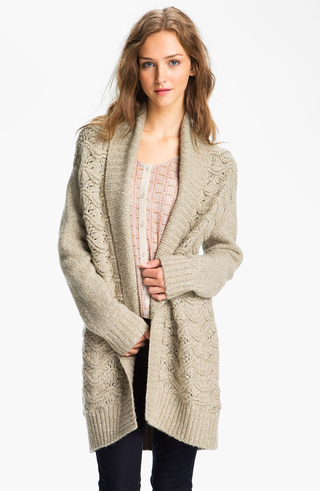 Scallop Knit Oversized Cardigan,                             Main thumbnail 1, color,                             Stone Cobbler