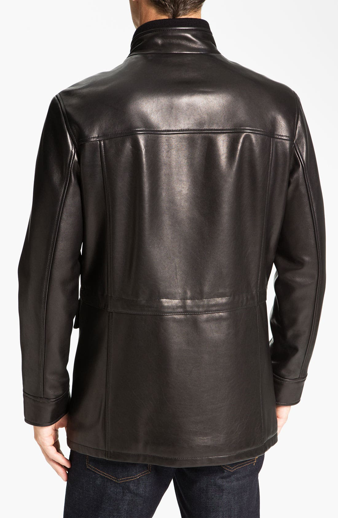 Alternate Image 2  - Cole Haan Lambskin Leather Car Coat