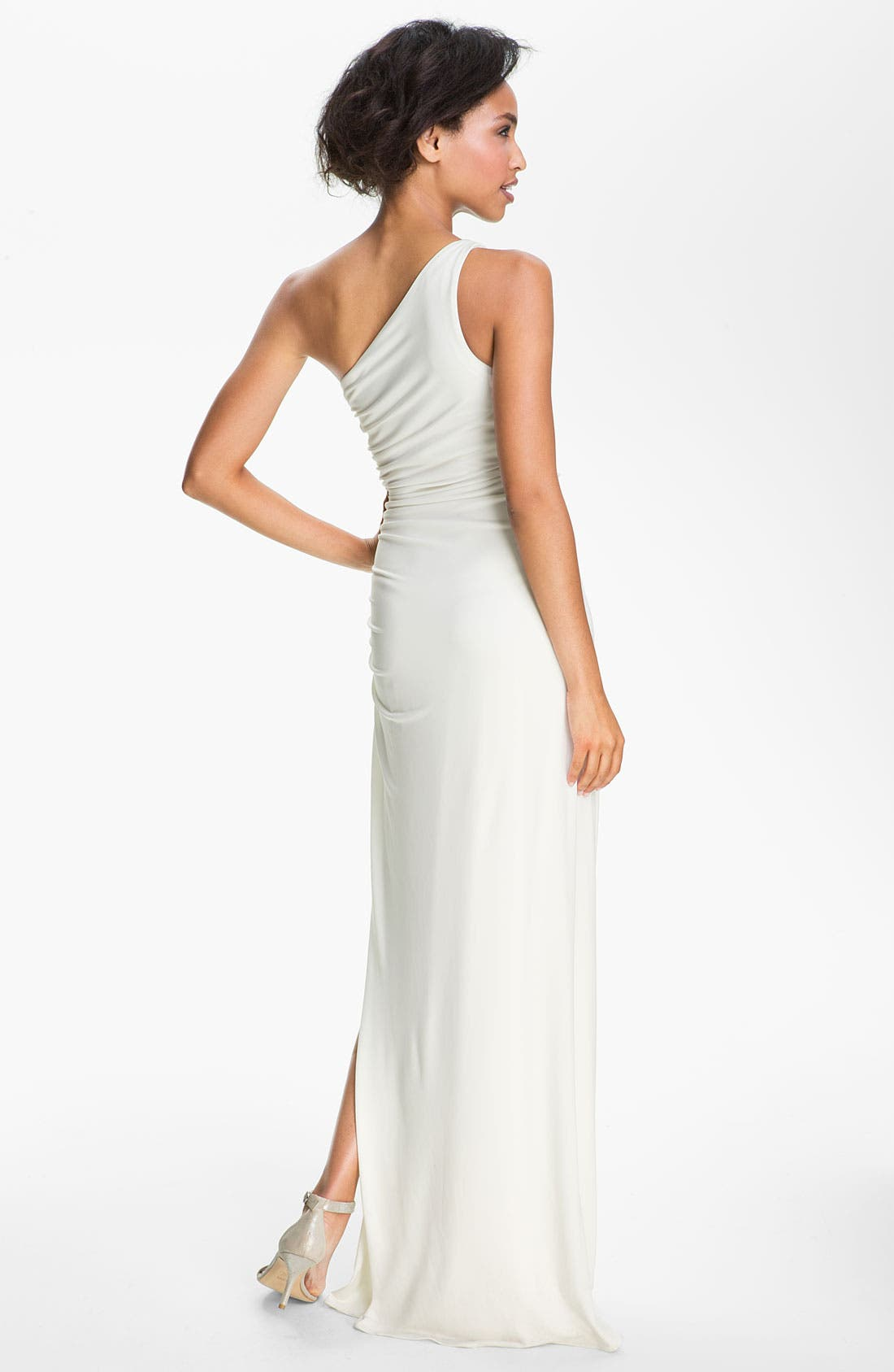Alternate Image 2  - Laundry by Shelli Segal Side Embellished One Shoulder Jersey Gown