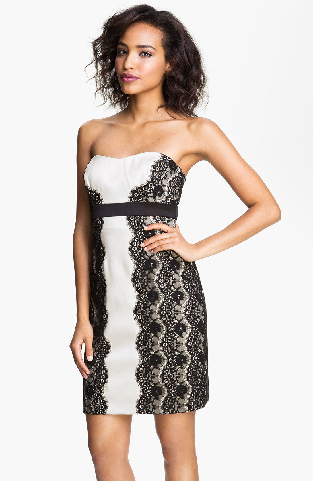 Alternate Image 1 Selected - Max & Cleo 'Olivia' Strapless Satin & Lace Dress