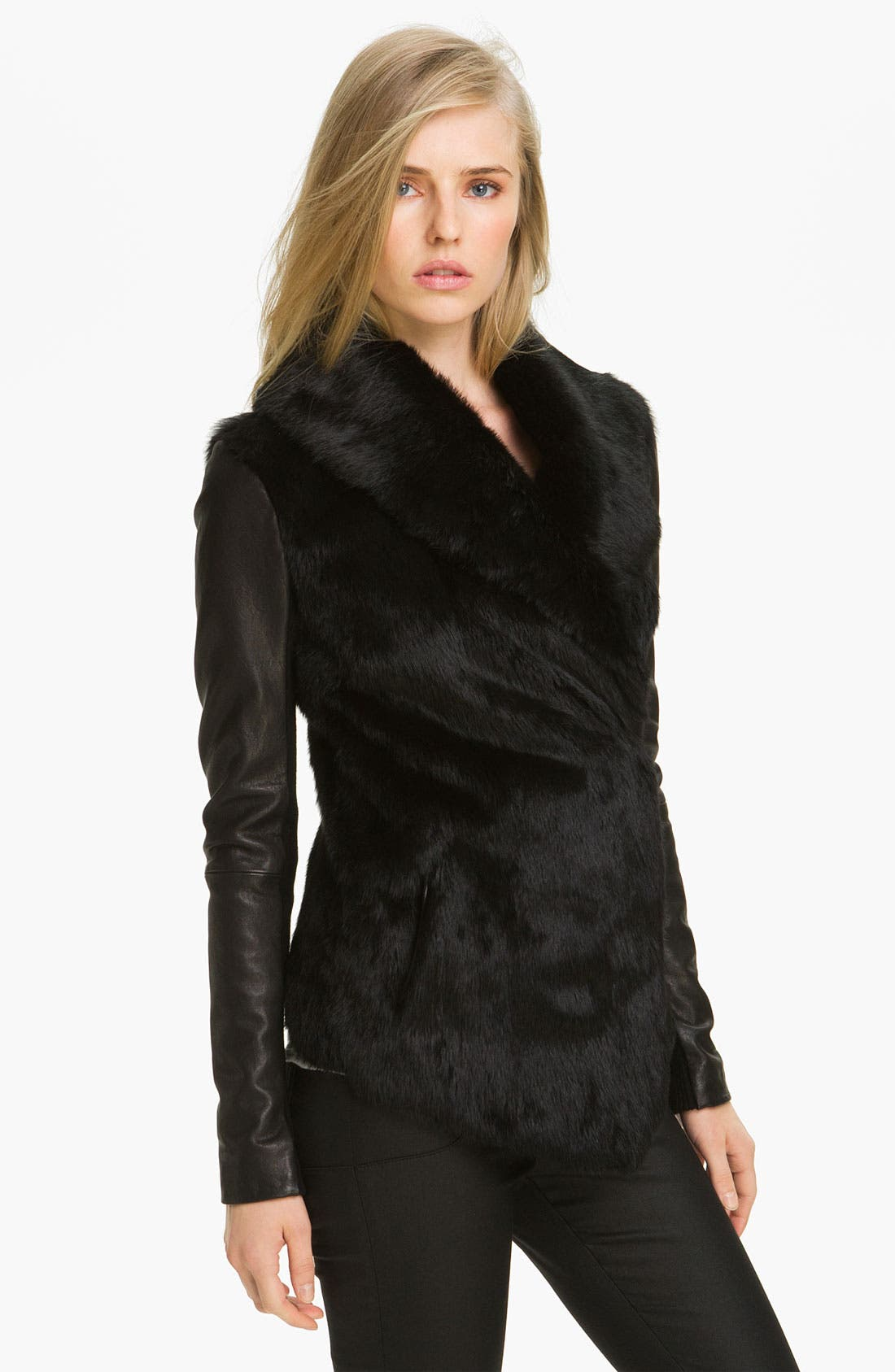 Main Image - Veda 'Stella' Genuine Rabbit Fur Jacket