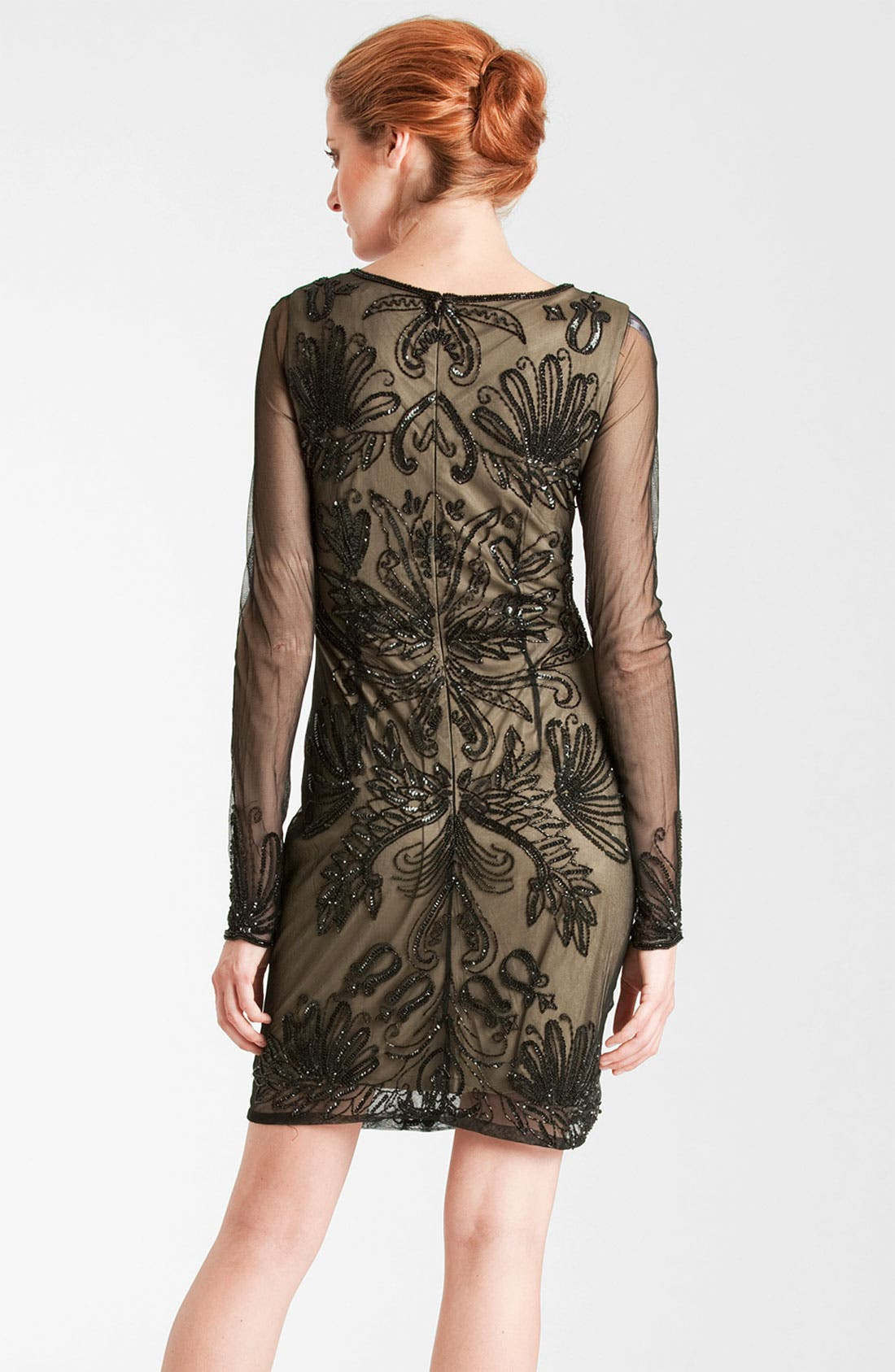 Alternate Image 2  - JS Collections Embroidered Sheer Sleeve Mesh Dress